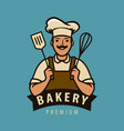 bakery logo or label happy chef in hat vector image vector image