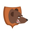 bear hunter trophy grizzly head on shield vector image