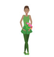 beautiful black ballerina with a red bouquet vector image vector image