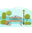 beautiful summer city park with green trees bench vector image vector image