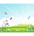beautiful summer landscape with flowers butterfly vector image