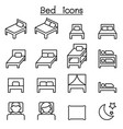 bed icon set in thin line style vector image vector image