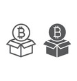 block reward line and glyph icon bitcoin vector image vector image
