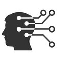 brain interface circuit icon vector image