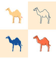 camel icon set in flat and line style vector image vector image