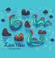 cartoon loch ness monsters and decorative hills in vector image