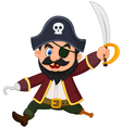 Cartoon pirate holding dagger vector image vector image