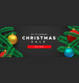 christmas sale banner 3d pine tree and red bauble vector image vector image