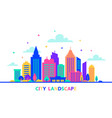 city landscape silhouettes of buildings with neon vector image vector image