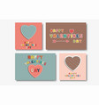 collection cute happy valentines day vector image