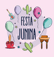 colorful elements of festa junina celebration vector image