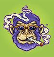 cool monkey stoner cannabis smoking vector image vector image
