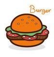 delicious hamburger fast food icon vector image vector image