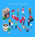 designers teamwork isometric concept vector image vector image