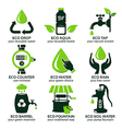 flat icon set for green eco water vector image vector image