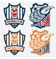 football team crest set with eagle and skull vector image vector image