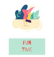 fun time outdoors recreation motivate flat card vector image vector image