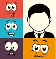 Funny cartoon face graphic design vector image