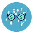 glasses with dollar sign icon on blue round vector image