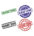 grunge textured nudist zone seal stamps vector image vector image