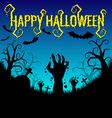 Halloween background with zombies hand and bat vector image