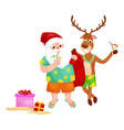 happy deer and santa claus getting ready for xmas vector image