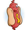 hot dog winking an eye cartoon character vector image vector image