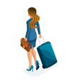 isometric of a beautiful woman on a business trip vector image vector image
