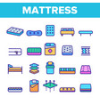 mattress types and material linear icons vector image