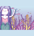 mermaid woman underwater with plants leaves and vector image vector image