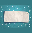 paper banner with snow vector image vector image
