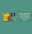 pirate attributes banner horizontal concept vector image
