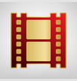 reel of film sign red icon on gold vector image vector image