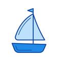 sailing vessel line icon vector image vector image