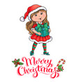 santa claus girl christmas card vector image vector image