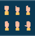 set counting hand signs communication concept vector image vector image