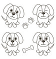 set of cute dogs isolated on white vector image
