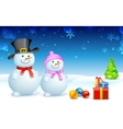 Snowman and Snowlady vector image vector image