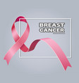 symbol pink ribbon breast cancer awareness vector image