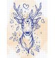vintage sketch style beautibul deer head vector image