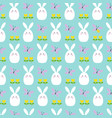 white easter bunnies tulips and butterflies vector image vector image