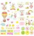 baby girl kangaroo scrapbook set vector image