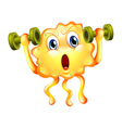 A cute monster exercising with dumbbells vector image vector image