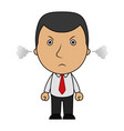 angry businessman and a steam comes out of his ear vector image vector image