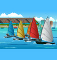 athletes sailing in the competition vector image vector image