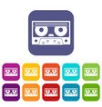 audio cassette tape icons set flat vector image vector image