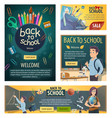 back to school banners with stationery for lessons vector image vector image