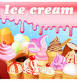 background with a set of fruits ice cream vector image vector image