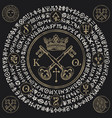 banner with crown keys and magical symbols vector image