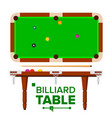 billiard table top side view green vector image vector image
